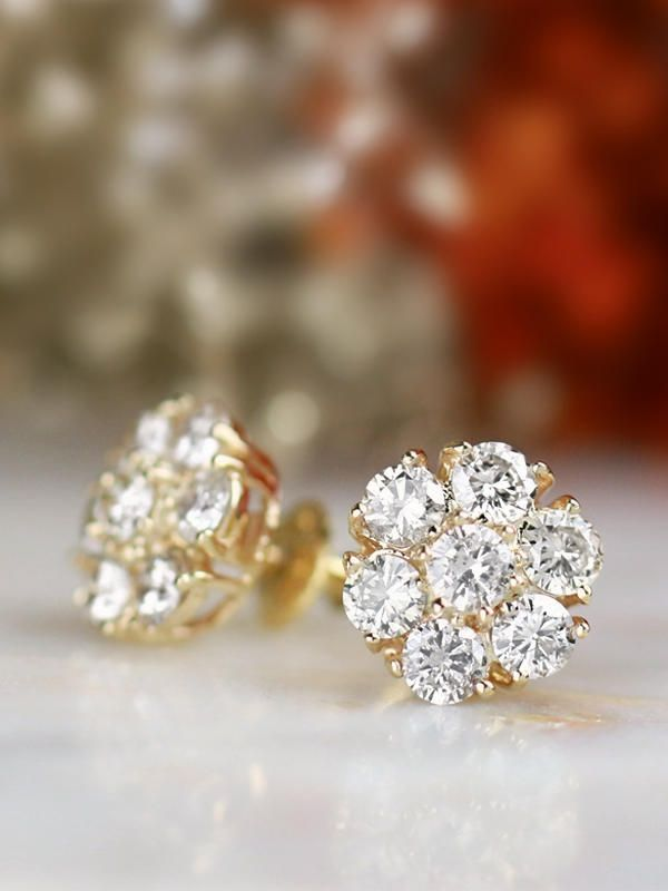 467366ff0ab773 2.35CT Natural Diamond Large Cluster Solid 18 Karat Gold Earrings with  Screw Back in 2019 | & earrings | Earrings, Diamond, Cluster earrings