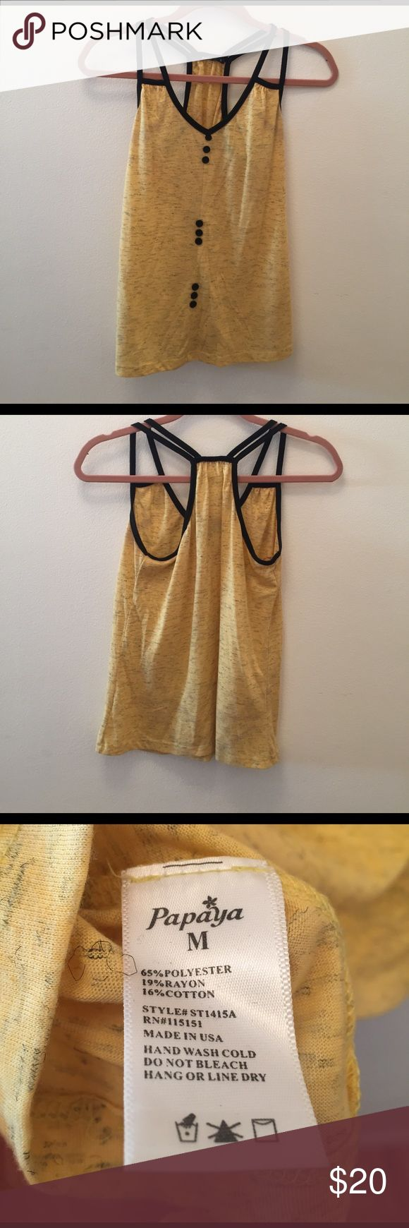Yellow Tank Top Yellow Tank Top size M. Message me if interested! Offers are welcome :) Papaya Tops Tank Tops