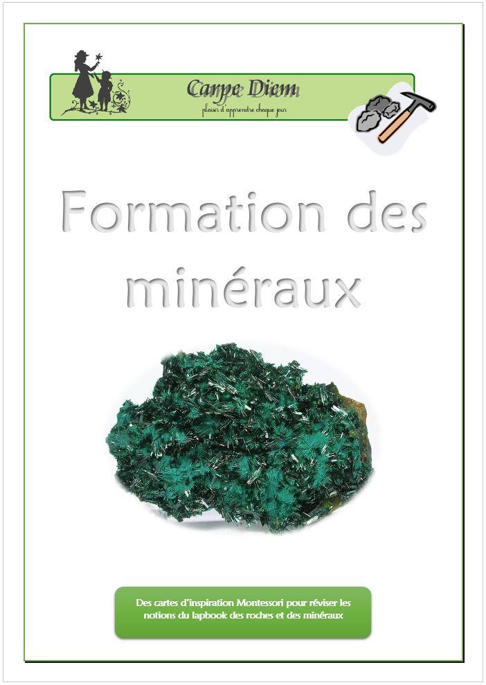 Des cartes d'inspiration Montessori sur la formation des minéraux. www.carpediem.asso.fr