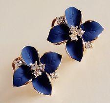 Fashion Elegant Cute Lady Girls Blue Flower Ear Stud  Charm Crystal Earrings