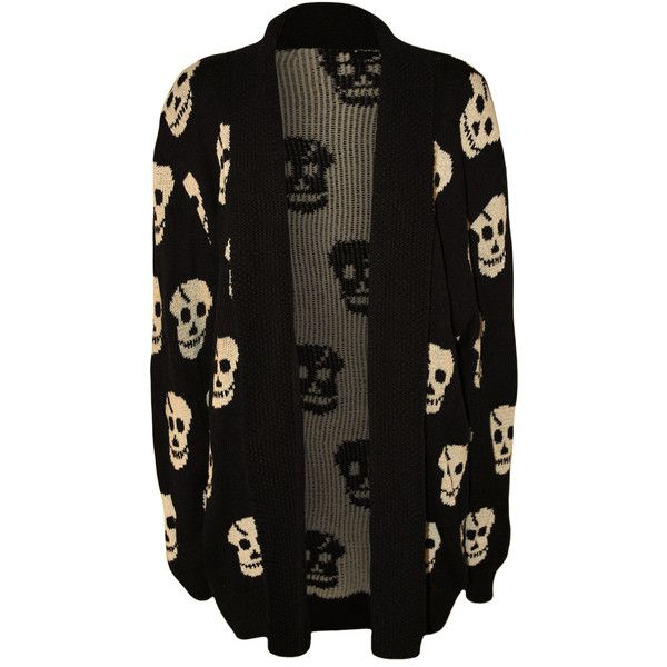 Ebony Skull Pattern Knitted Cardigan ($30) ❤ liked on Polyvore featuring plus size women's fashion, plus size clothing, plus size tops, plus size cardigans, black, long sleeve tops, skull top, stretch top, stretchy tops and cardigan top