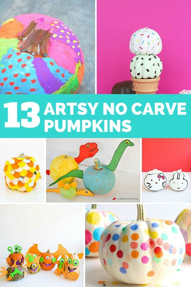 Artsy and colorful no carve pumpkin ideas for kids