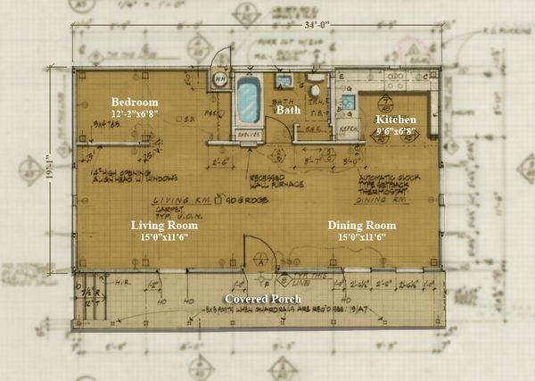 Cabin Style House Plan - 1 Beds 1 Baths 650 Sq/Ft Plan #447-1 Floor Plan - Main Floor Plan - Houseplans.com