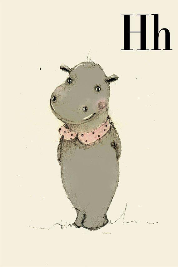 H für Hippo - Alphabet Kunst - Alphabet drucken - ABC Wand Kunst - ABC print - Kinderzimmer - Kinderzimmer Dekor - Kinder Zimmer Dekor - Kin...