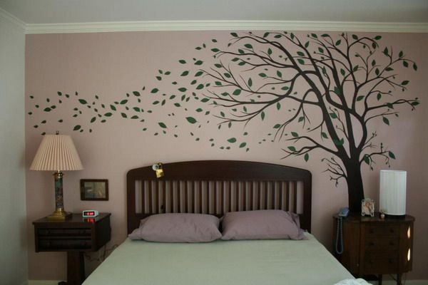 tree mural: I love the way the leaves look like  they are blowing in the wind.