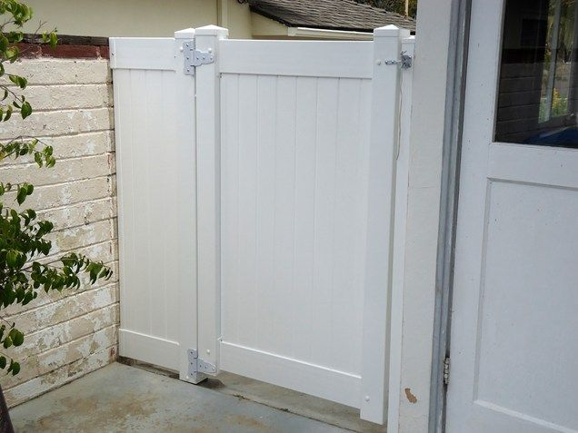 White Vinyl Gate, Privacy Gate Gates and Fencing Pacific Sunscapes San Diego, CA