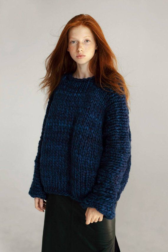 10c5982ef8f1 Midnight blue oversized chunky sweater Round neck wool jumper Chunky knit  merino wool sweater Dark b