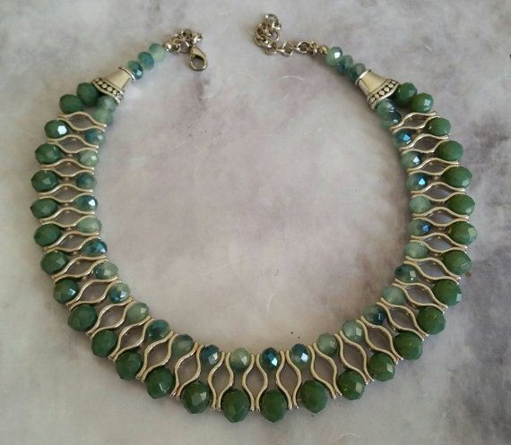 Check out this item in my Etsy shop https://www.etsy.com/listing/218964395/green-crystal-two-strand-necklace-best