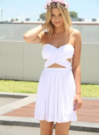 White Strapless Cross Over Wrap Dress with Cutout Detail,  Dress, strapless dress  cutout dress, Bohemian (Boho) / Hippie