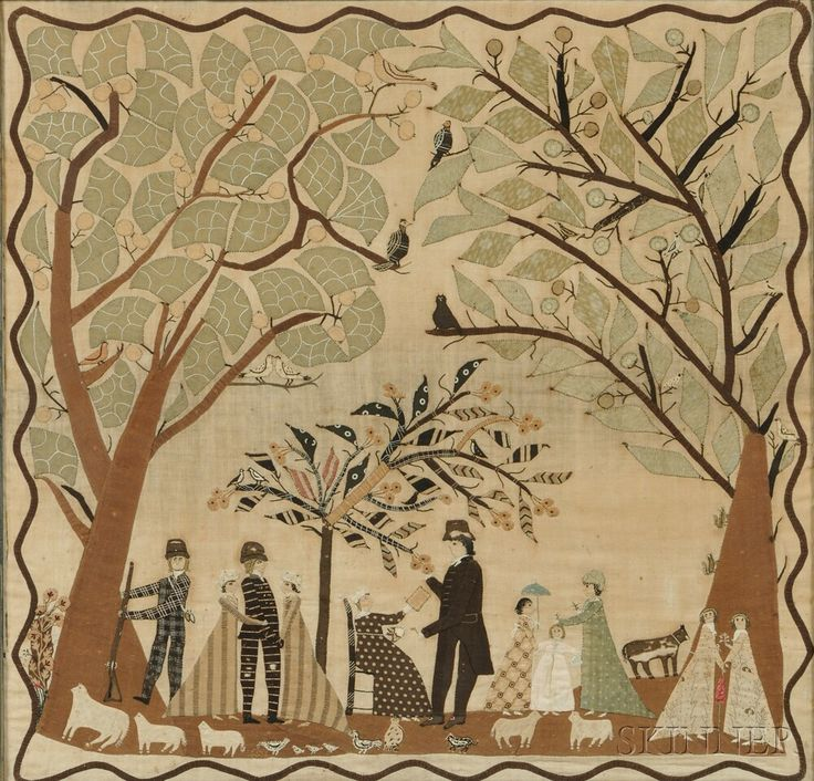 Folk Art Appliqued Needlework Picture of a Family Outing, Burlington, Vermont, area, c. 1810.