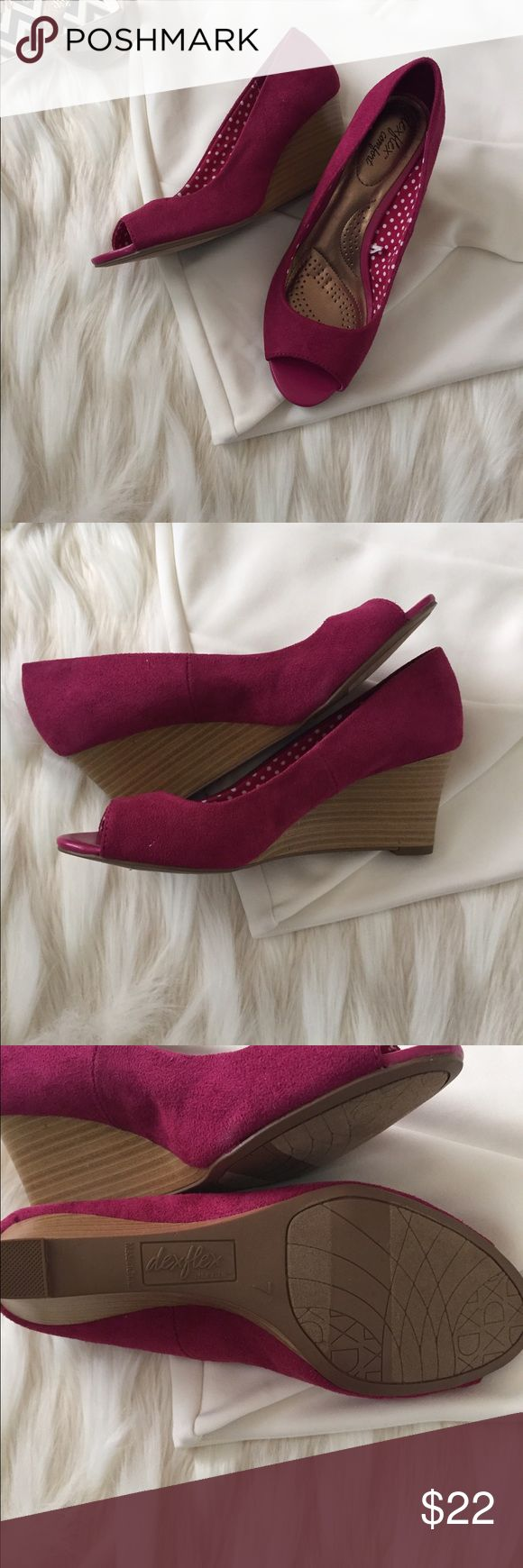 """NWOT magenta faux suede wedges Cute magenta faux suede wedges from Dexflex have an open toe and cushion interior for extra comfort and support. Size 7. Never worn, no box. 3"""" wedge heel. Shoes Wedges"""