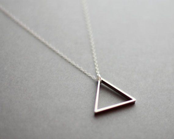 WANTWANTWANTWANT. Small Single Silver Triangle Necklace Minimalist by FawnAndRose