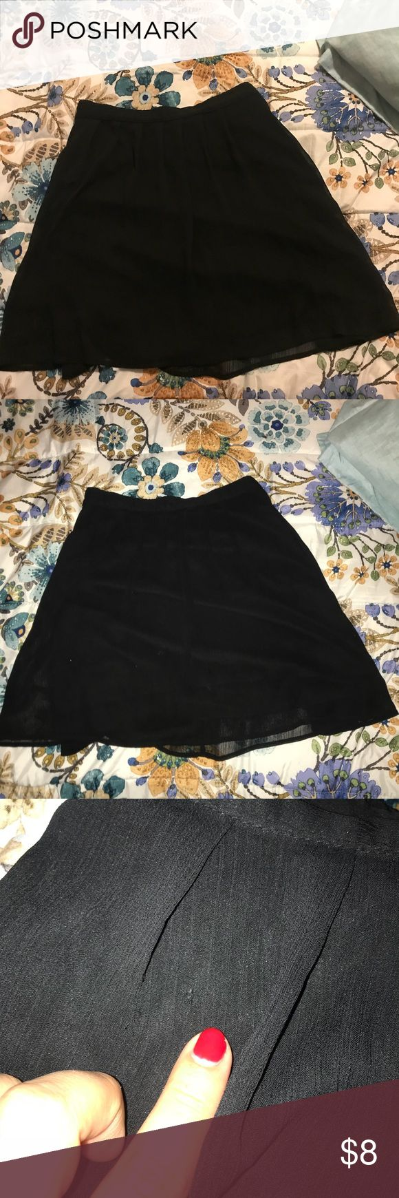 Black Mini Skirt Black, elevation band, mini skirt from old navy. Skirt has a few pulls which are pointed out in pictures. Skirts Mini