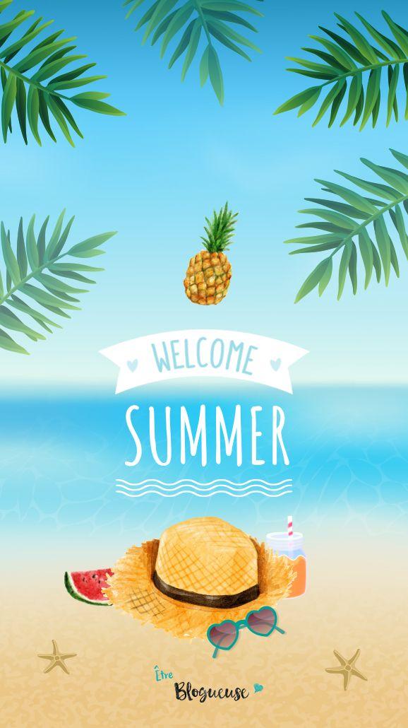 Fond d'écran estival pour iphone et tous les autres modèles sur le thème de l'été, les vacances, la mer, la plage, chapeau de paille etc.