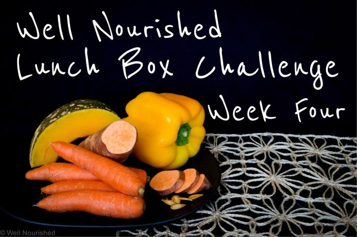 Well Nourished Lunch Box Challenge- Week Three. This weeks lunch box focus is yellow and orange coloured vegetables. Lots of ideas, choices and recipes too.