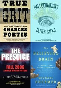 January Book Reviews - http://www.lesliebeslie.com/2013/01/30/january-reads-recap/ - True Grit, Oliver Sacks, The Prestige, The Believing Brain