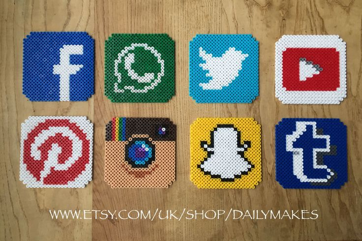 Social Media coasters perler beads by DailyMakes