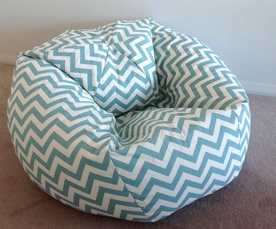 Duck Egg Blue Bean Bag Zig Zag Chevron Adults Bean Bag, Teenagers Bean Bag,Coastal Blue & White, Duck Egg Blue Natural, Navy Blue, Teal Blue