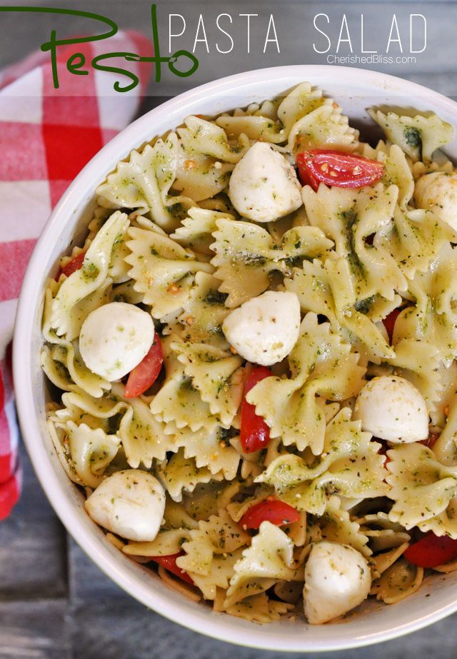 Pesto Pasta Salad. Add chicken and you have a great dinner recipe!