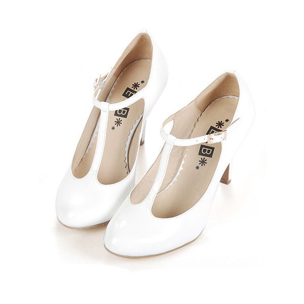 Retro White T-Bar Round Toe Leather Heeled Shoes ($84) found on Polyvore