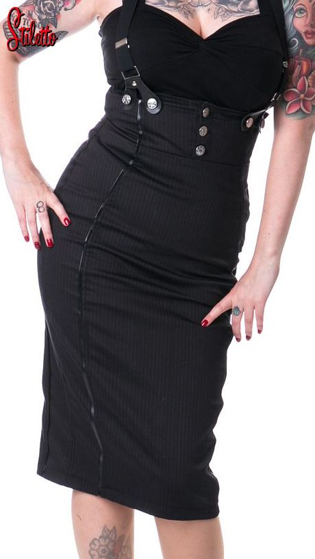 Rockabella pinstripe pencil skirt gonna a tubino con bretelle stile gangster dark