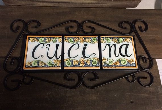 Iron frame with majolica tiles. by Bluanticoceramics on Etsy