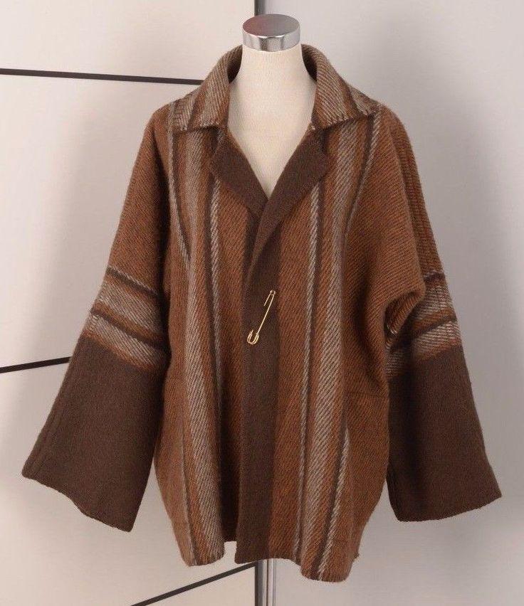 BERGER PLEDD WOMEN NORWEGIAN WOOL CARDIGAN FOLK BLANKET COAT 42/44 UK14/16 Large