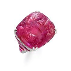 Art Deco carved ruby ring, circa 1925