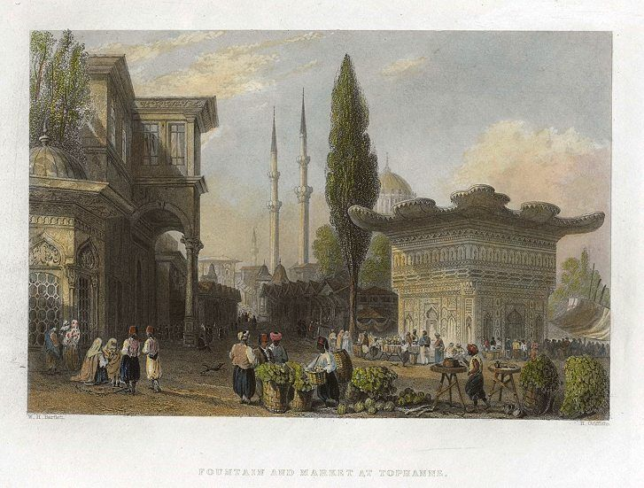 Turkey, Constantinople, Fountain and Market at Tophanne, 1838
