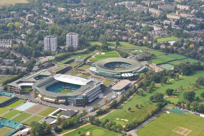 An aerial photograph of Wimbledon Lawn Tennis Club, South West London
