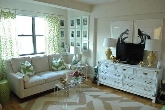 Awesome apartment living room. Very clever using a dresser ...