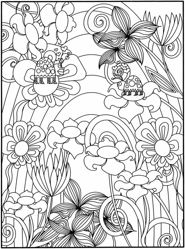 coloring   sheets: Colour Pages, Ladybugs, Adult Colors Pages Lady, Parties Flowers, Lady Bugs, Gardens Parties, Colors Books, Flowers Design, Colors Sheet