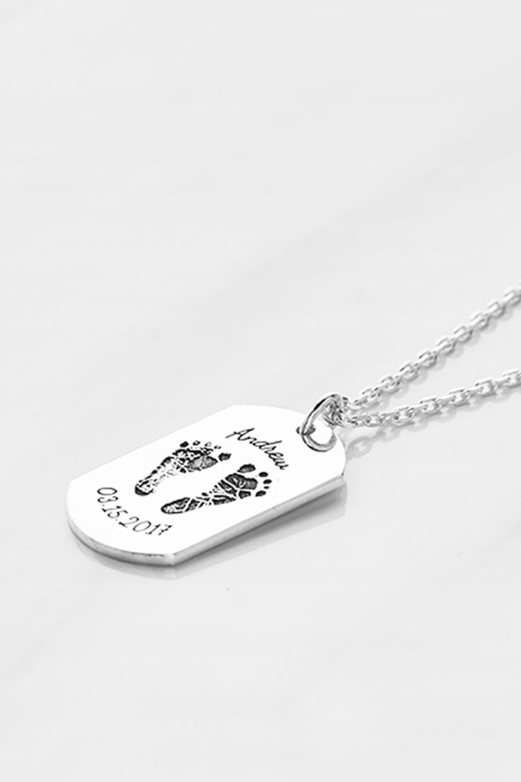 Best Gifts For First Time Dads Part - 29: Baby Footprint Dog Tag Necklace For Men. Best Gifts For DadFirst ...