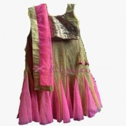 This is one of our best sellers. The trendy ghagra is of gold & neon pink. The gold sequence blouse & ghagra lining sparkle in lights are perfect for all the occasions.