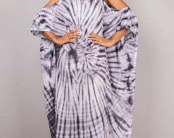 Kaftan, vestido de Kaftan, Vestido Halter, Tie Dye vestido, vestido de verano, blanco y negro vestido: colección de Shibori (SI-041)