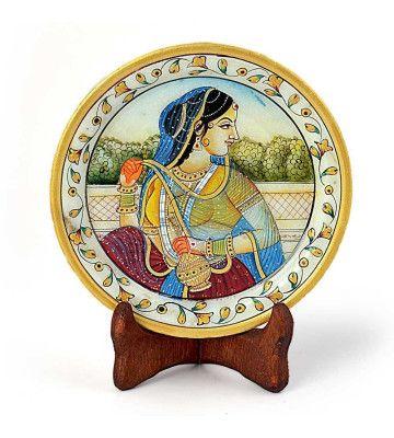 Rajasthani Princess Gold Meenakari Marble Painting