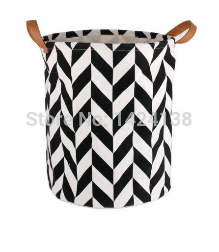 Wit en zwart patroon stof wasmand met PU handgrepen, opslag mand, 100% katoen, zeer populair in Korea en Europa