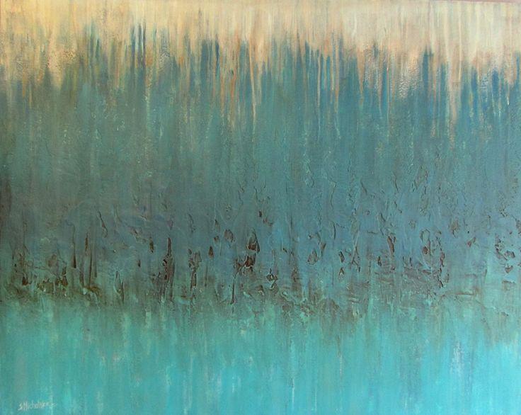 abstrakcyjne malarstwo na płótnie by Sylwia Michalska, abstrakcja turkusowa