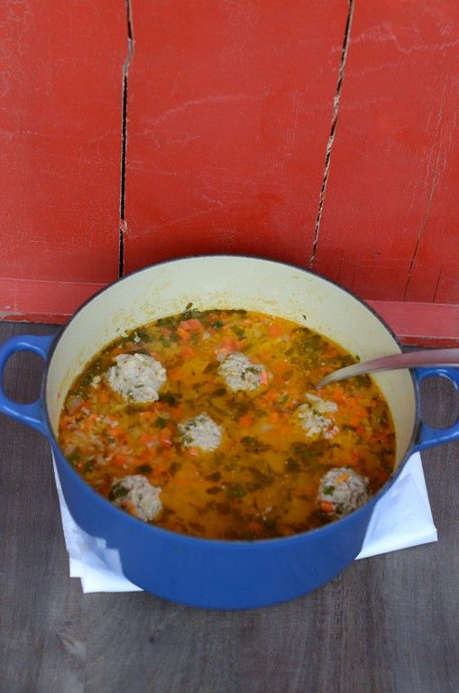 Meatball and Rice Dumplings Soup, A Romanian Style Chorba (Ciorba)  adapted from Balkan Cooking by Benny Saida