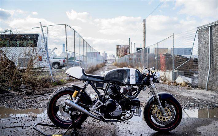 Télécharger fonds d'écran Ducati Scrambler Cafe Racer, superbikes, dump, italien de motos, Ducati