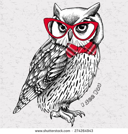 The image of an owl with bow and glasses. Vector illustration.