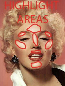 Marilyn Monroe highlight areas.
