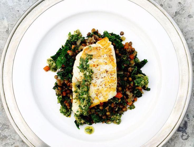 Seared Halibut with Lentils, Kale & Salsa Verde | Recipe | Salsa verde ...