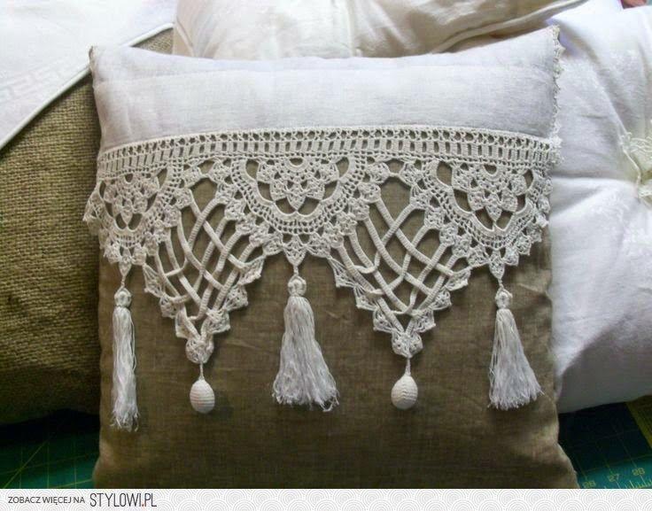 almohadón arpillera y crochet - el taller de jazmin