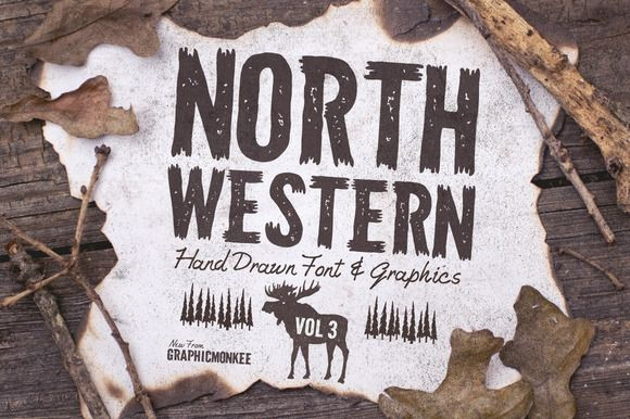 North Western Font + Vectors Vol 3 by GraphicMonkee on Creative Market