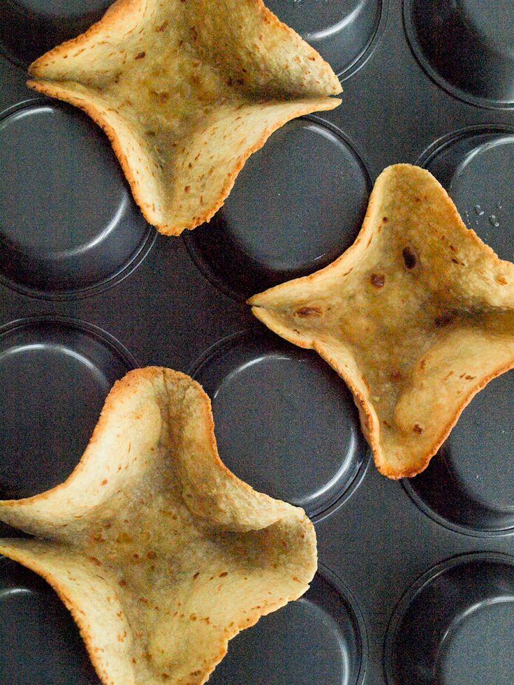 Make homemade mini taco bowls using a muffin tin upside down!