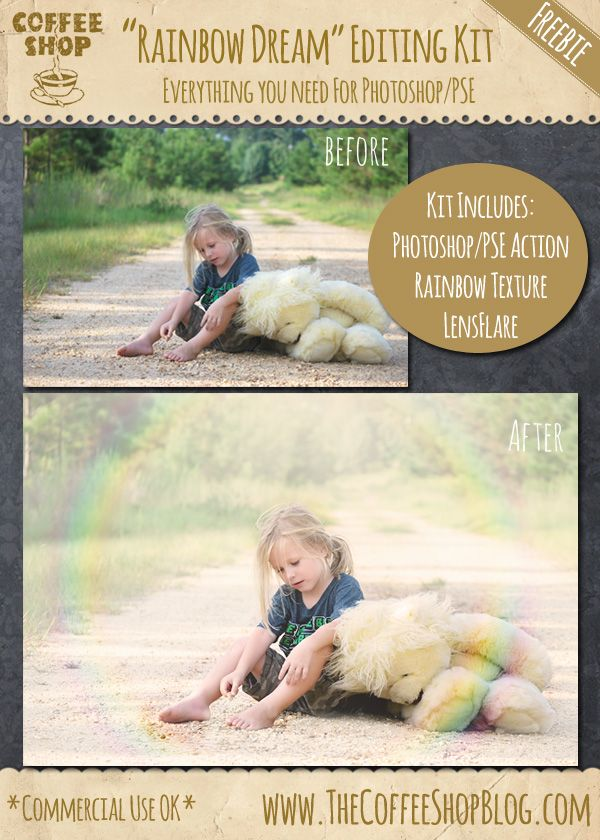 "CoffeeShop ""Rainbow Dream"" Photoshop/PSE Editing Kit!!! Includes action, tutorial, rainbow texture, and sun flare brush.  And it is FREE!!!!  Please share if you love it!!!!"