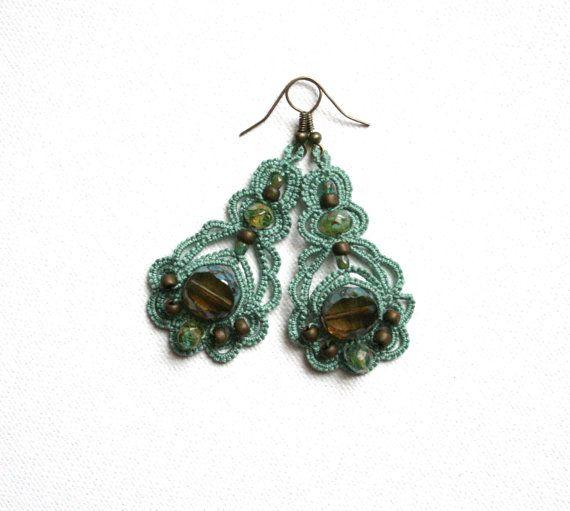 Teal Green Tatting Lace Chandelier Dangle Czech Glass Bead Earrings