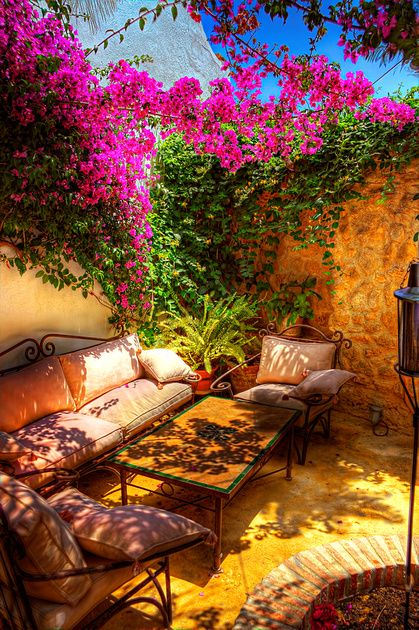 Garden Relaxation - A relaxing little corner in the Jardin del Califa, Vejer de la Frontera, Spain. Great energy.