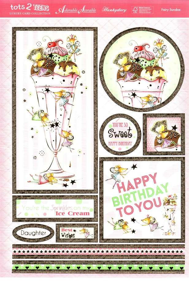 Hunkydory Tots 2 Teens die cut toppers & card - Fairy Sundae, ice cream